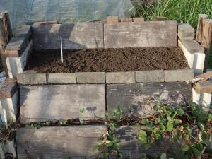 改造した石垣。下段はランナーで増えたイチゴ。