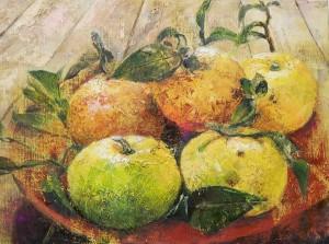 柚の絵。画材:油絵の具、6 号キャンバス。